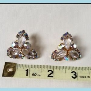 Vintage large white and rainbow rhinestone earring